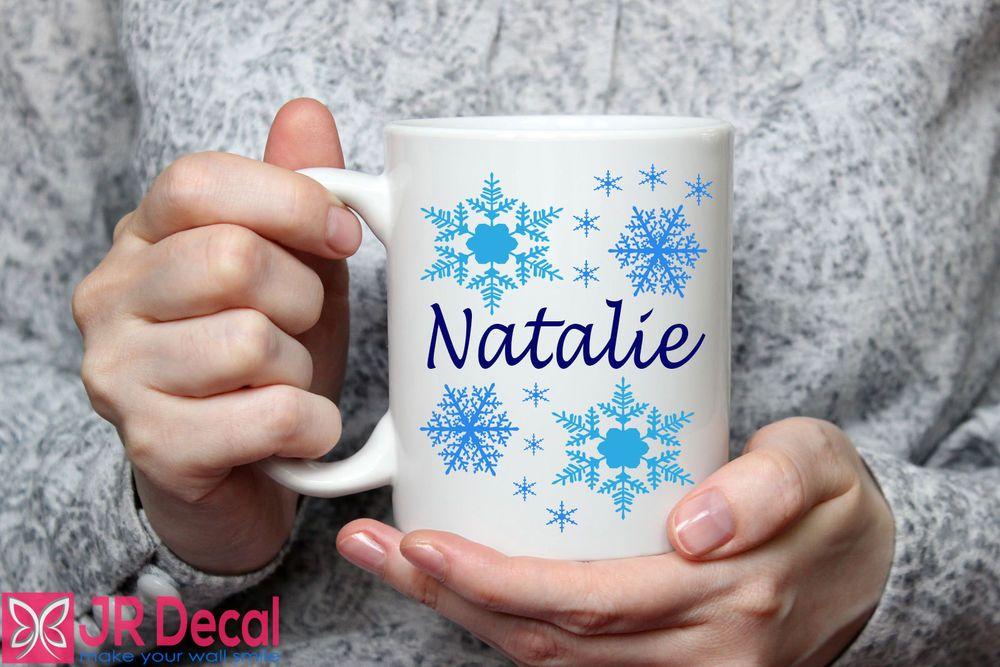 Details about personalised name snowflakes printed mug