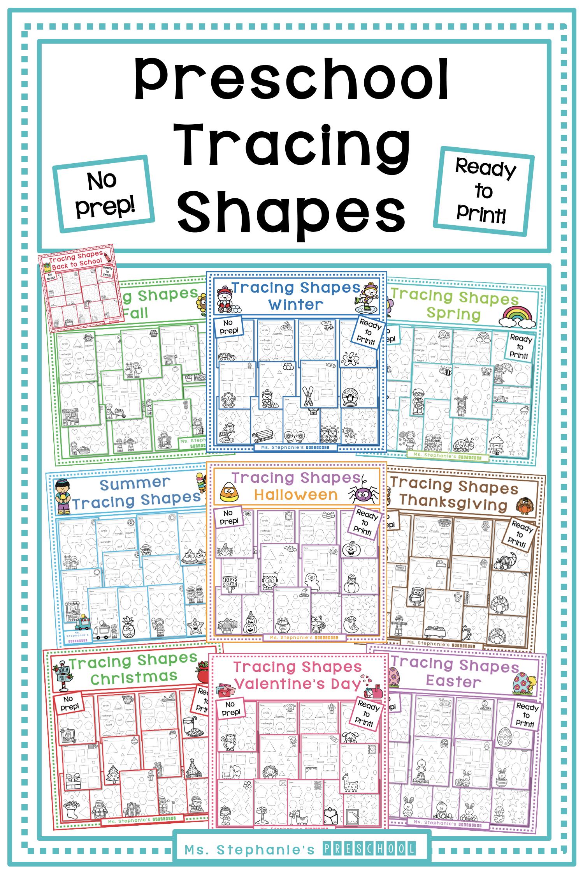 Preschool Tracing Shapes Bundle In