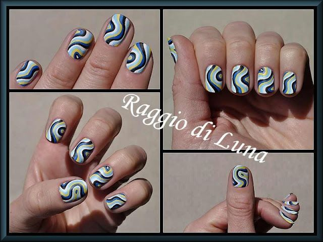 Born Pretty Store review: White nail art brush - Abstract curved lines manicure