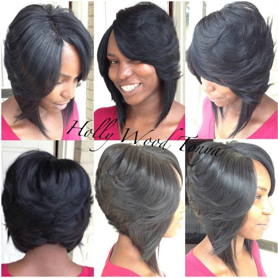 long side layered bob hair style | wedding favors | weave