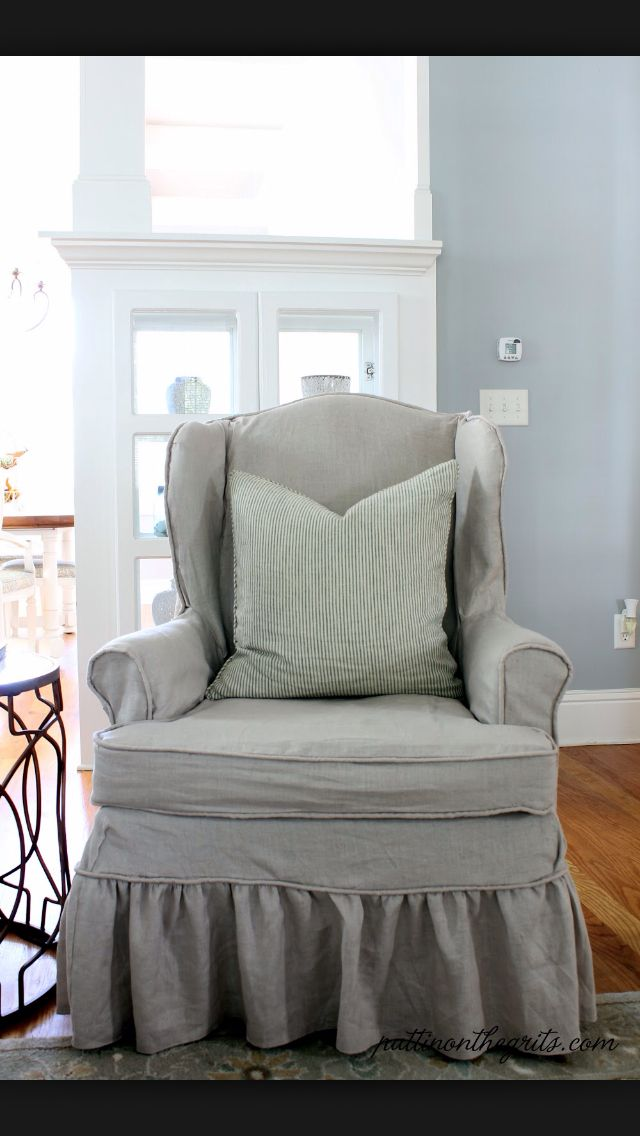 Oatmeal Linen & Burlap Tufted Wing Chair ($2,488) liked on ...