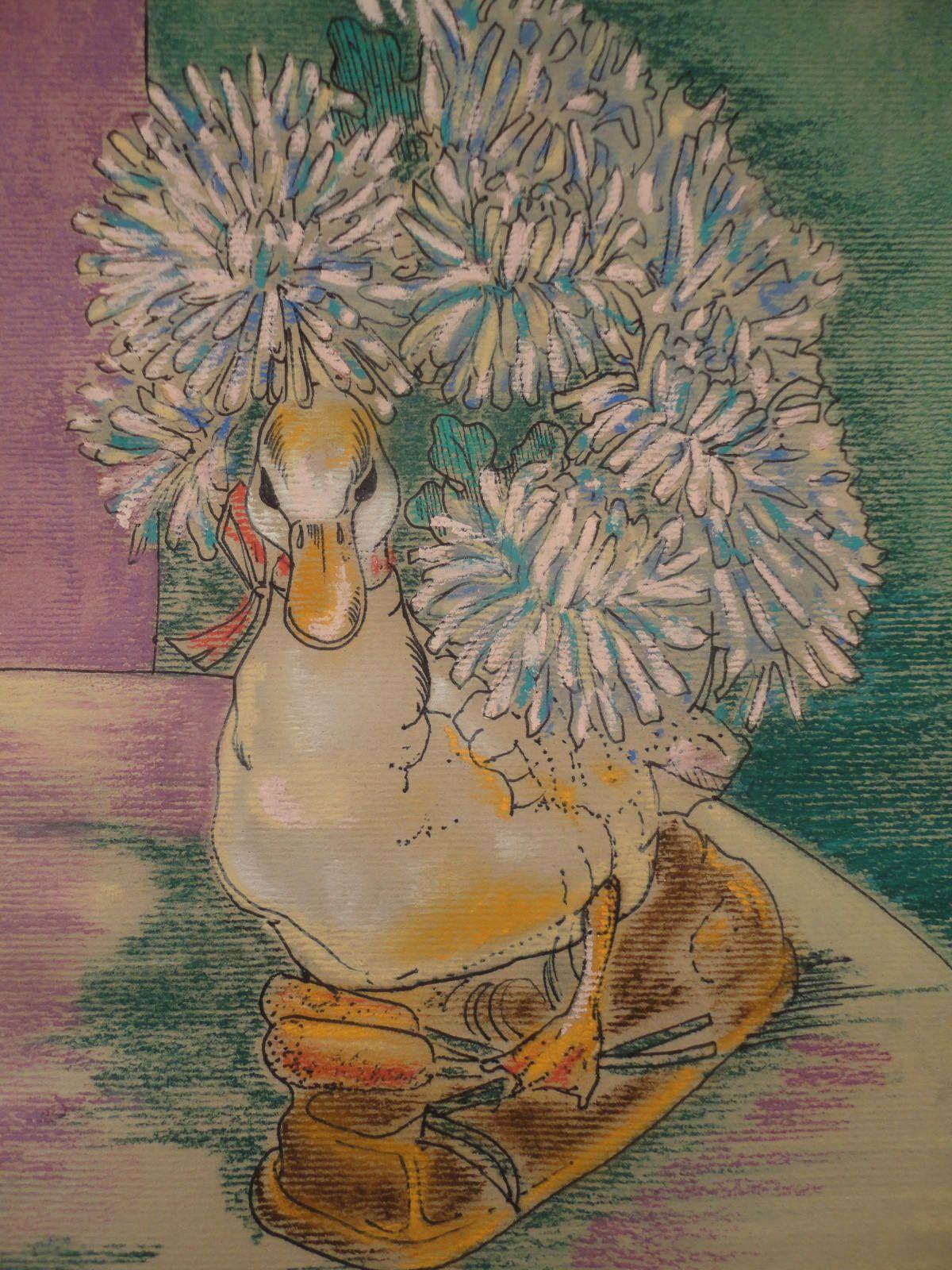 Still Life Painting Original Watercolor Painting Flowers Duck Vase