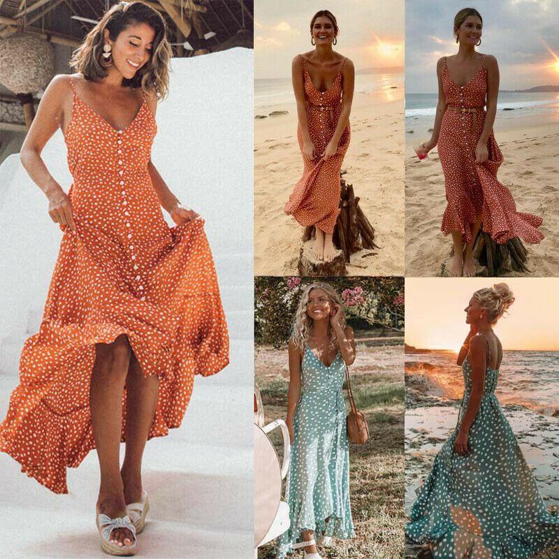 süß billig neueste das beste Damen Boho/Hippie Sommerkleid Maxikleid Abendkleid Lang ...