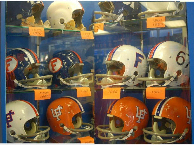 U Of Florida S Helmets Through The Years Football Helmets Gators Football Florida Football