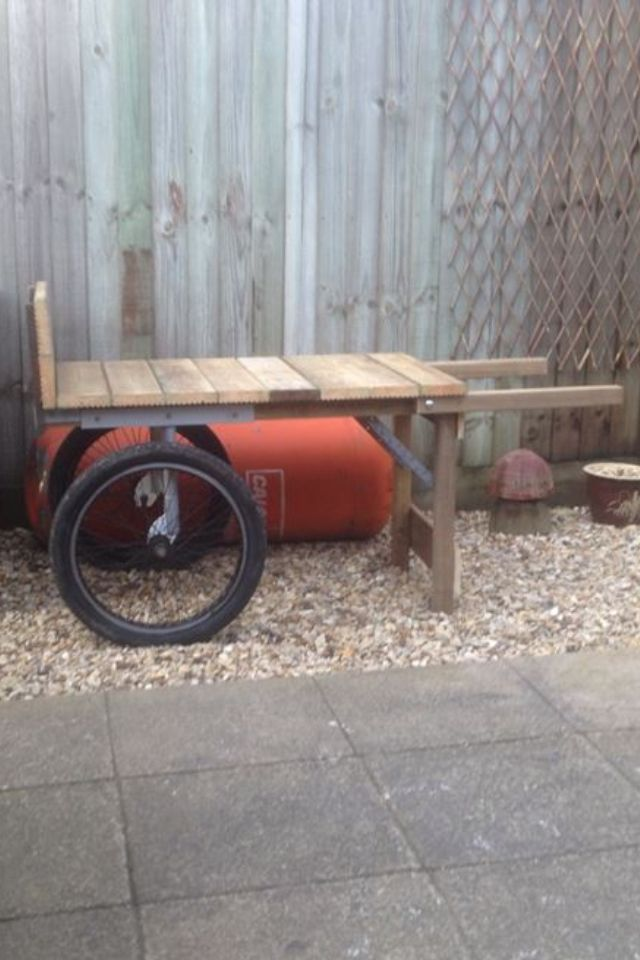 Homemade Market Garden Barrow Made From Old Bmx Wheels S Box Section Angle Iron Reclaimed Decking And Pallets Very Well Balanced Cart Totally