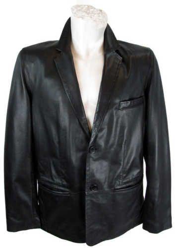 Vintage Black 100% Real Leather STEEL Fitted Hip Length Men's Jacket Coat Blazer Size M - L PH7dMk5Il