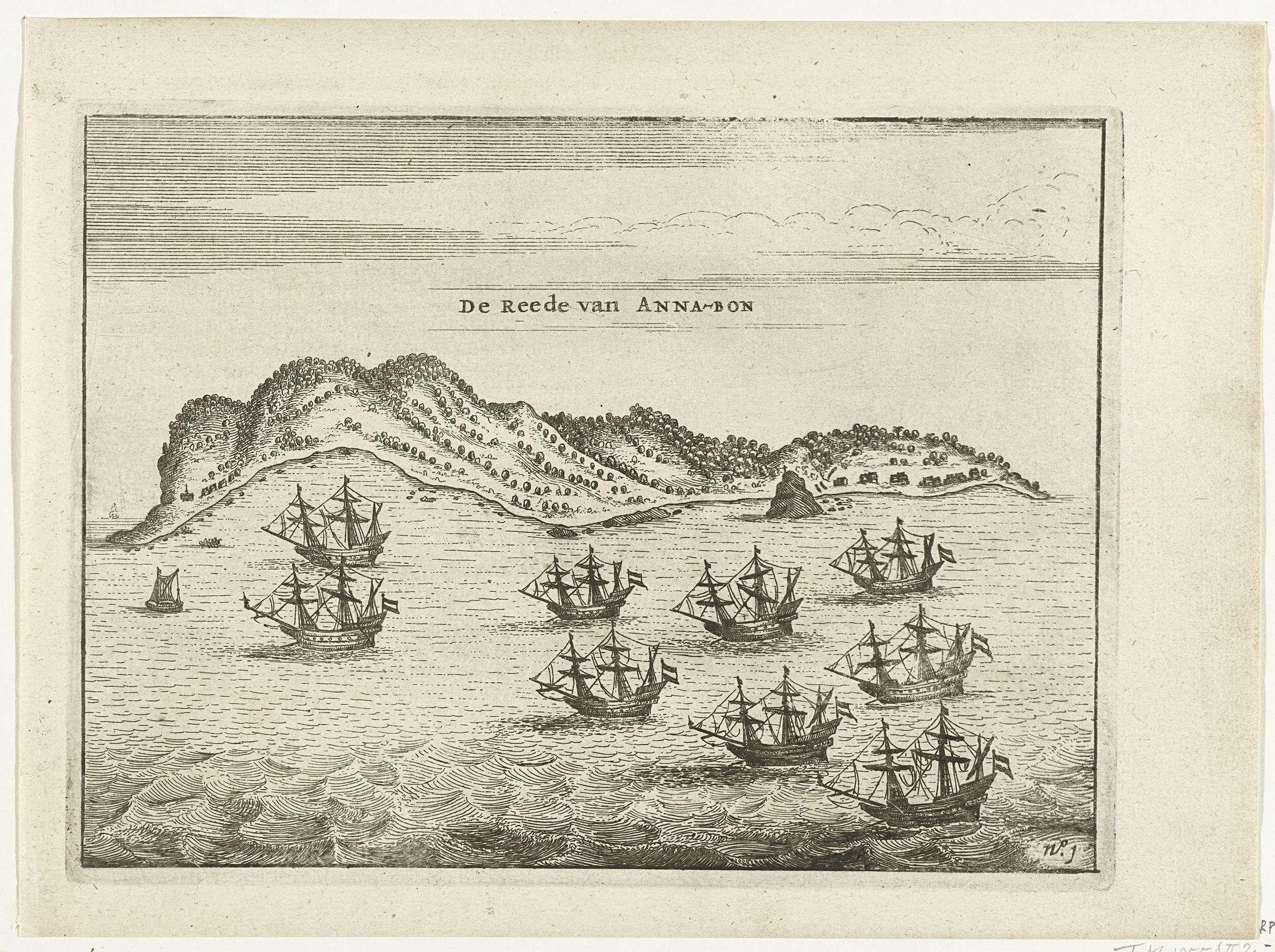 Anonymous | De vloot voor de rede van Annobón, 1605, Anonymous, 1644 - 1646 | Aankomst van de vloot voor de rede van Annobón, 7 september 1605. Onderdeel van de illustraties in het verslag van de tocht door Cornelis Matelief de Jonge voor de VOC naar Oost-Indië en China, 1605-1608, No. 1.