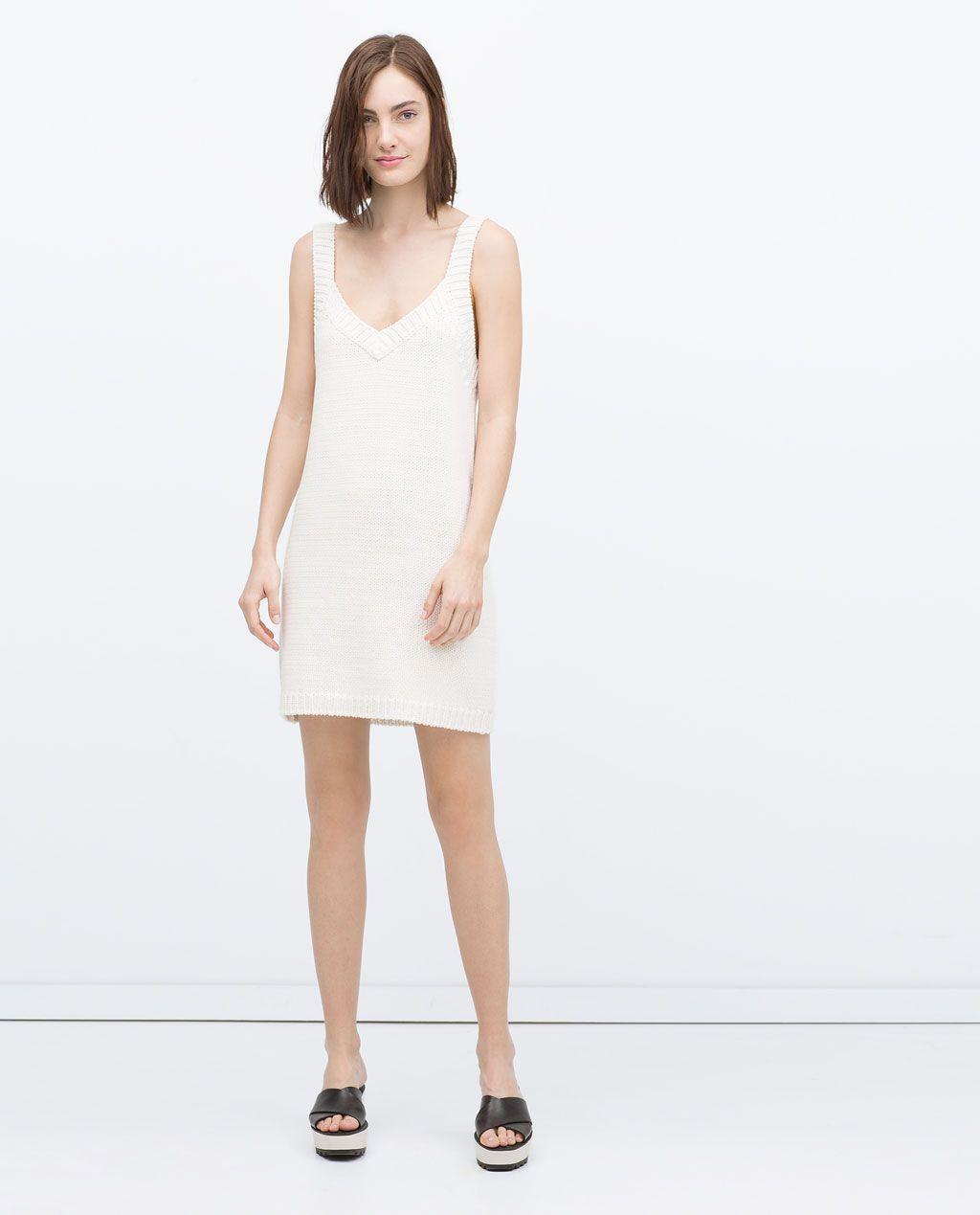 Zara vestido punto beige