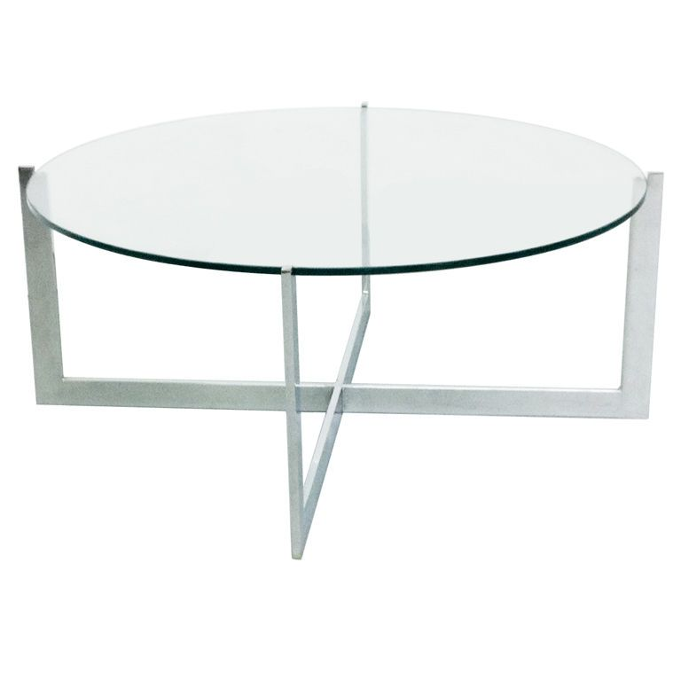Milo Baughman Chrome/Glass Cantilevered Round Coffee Table