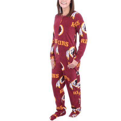 timeless design 6c957 6bc72 Washington Redskins Women's Ramble Union Suit Footed Pajamas ...