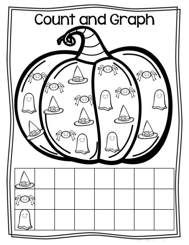 halloween graph Kindergarten math, Halloween worksheets