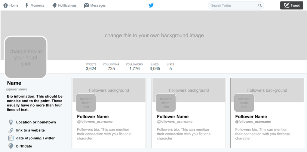 Blank Twitter Profile Template (4) - TEMPLATES EXAMPLE ...