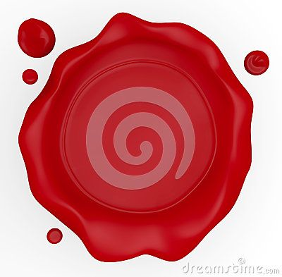 3D illustration of a wax seal with an empty flat middle for text.