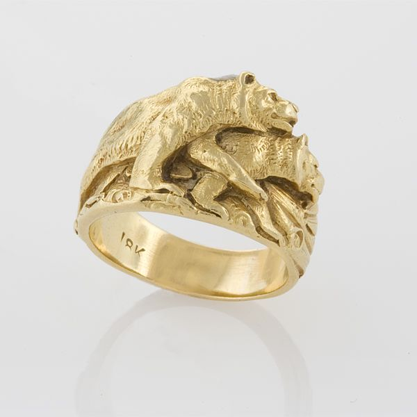 Gustav Manz 18 Karat Art Nouveau Double Bear Ring An American Gold Authenticated As Made By The Depicts Two
