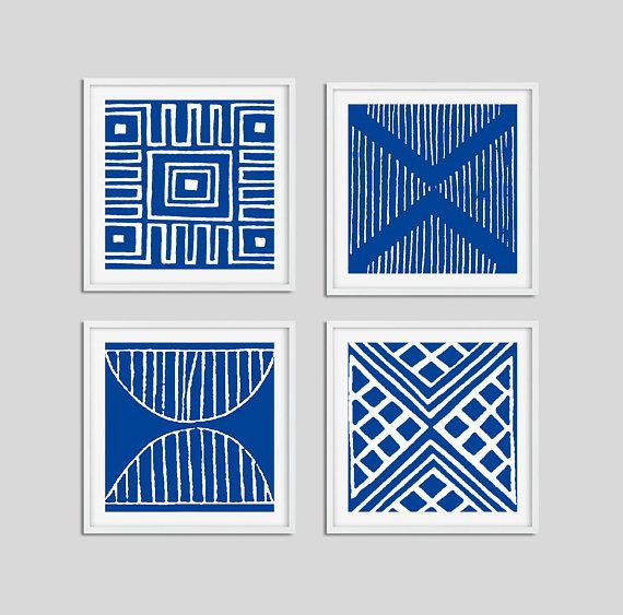 Blue And White Wall Art Prints Set Of 4 Nautical Art Dining