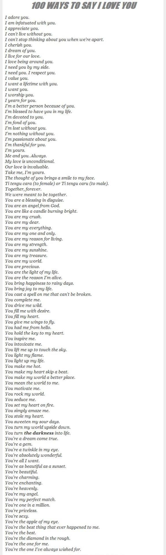 Beautiful ways to say: I love you