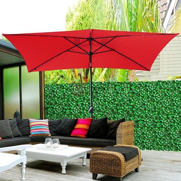 Thelashop Rectangular 10 Foot Patio Umbrella With Solar Lights Patio Umbrella Rectangular Patio Umbrella Solar Umbrella