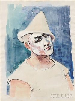 Walt Kuhn - Circus Clown, 1942, Watercolor and ink...