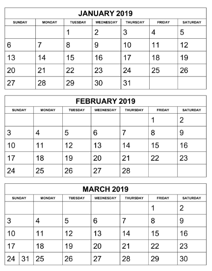 photograph regarding 3 Month Printable Calendar identified as 3 Thirty day period Calendar January February March 2019 Trainer things