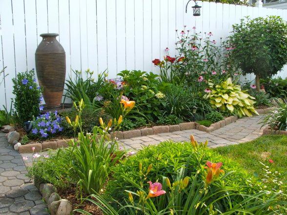 perennial garden in small backyard