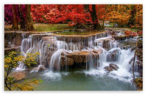 Download Waterfall Red Trees Hd Wallpaper Waterfall Wallpaper