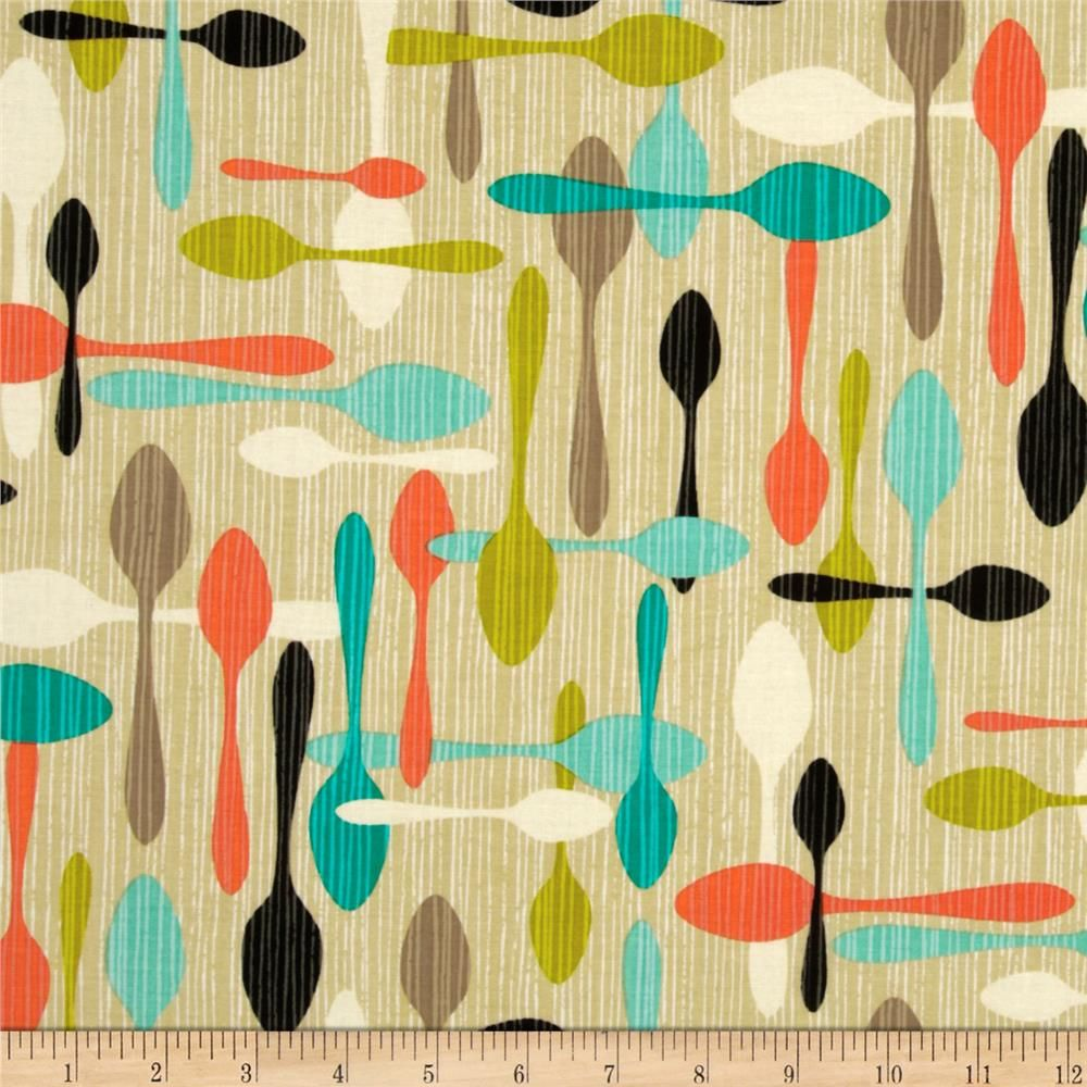 Kitchen Curtains Fabric Vintage Ki Curtains Fabric: Michael Miller Jug Or Not Retro Spoon Me Vanilla From @fabricdotcom From Michael Miller, This