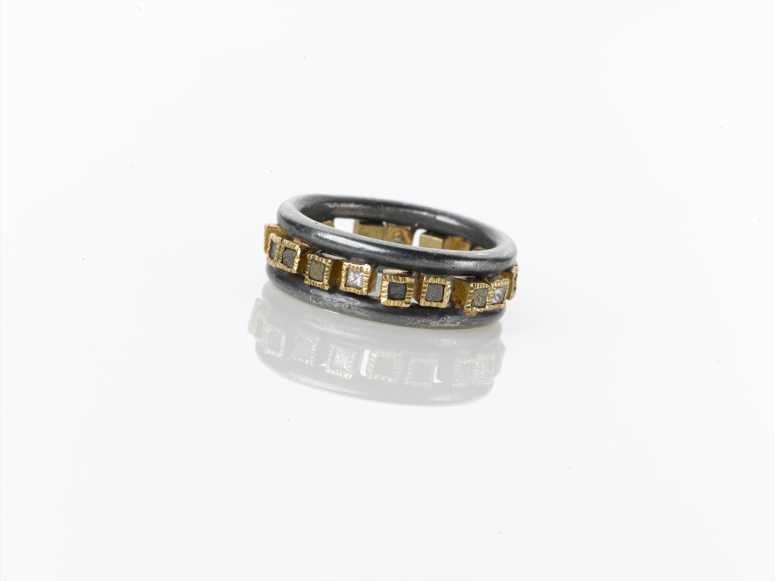 Todd Reed Jewelry One Of A Kind Ring For Men Mens Modern Rings Unique Style Designer Textured Alternative Wedding Bands