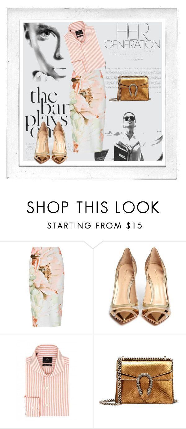 """""""Stripes & Florals..."""" by romance-spice ❤ liked on Polyvore featuring Polaroid, Gianvito Rossi, Chester Barrie and Gucci"""