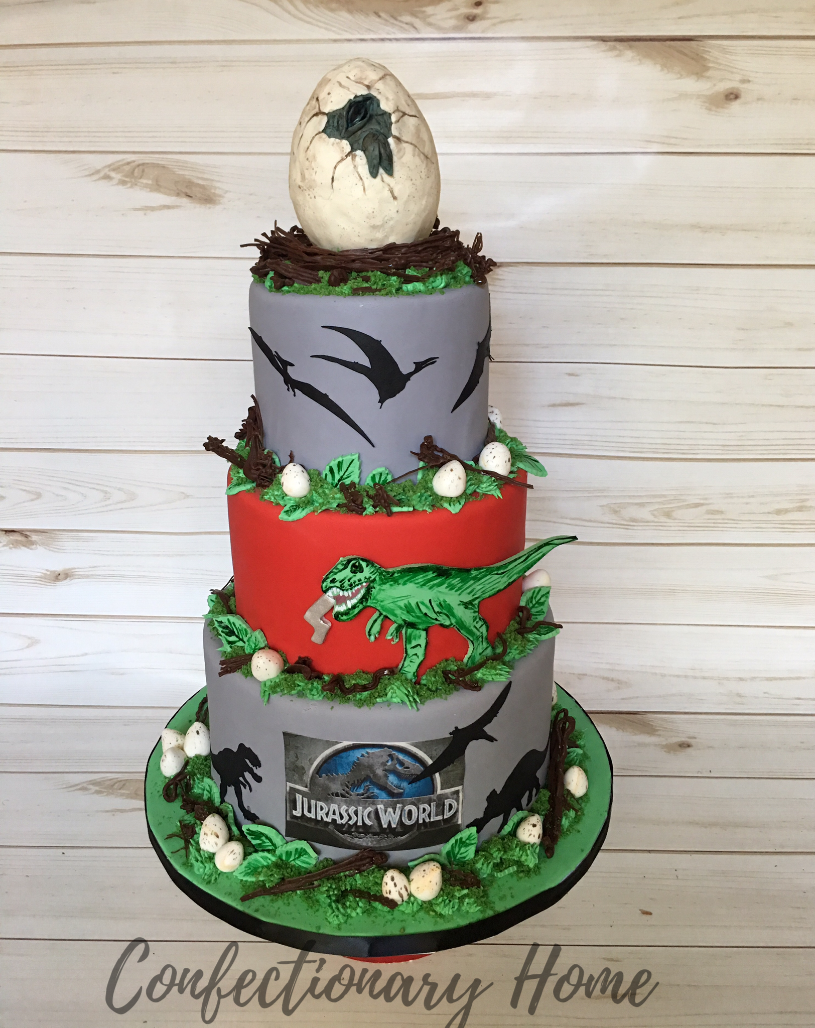 Dinosaur Egg Themed Birthday Cake The Includes A Hatching Topper 2D T Rex Eating Fondant Number 4 Jurassic World Edible Image