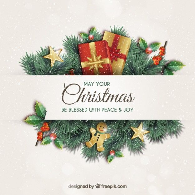 Christmas greeting card with garlands Free Vector | Профком ...