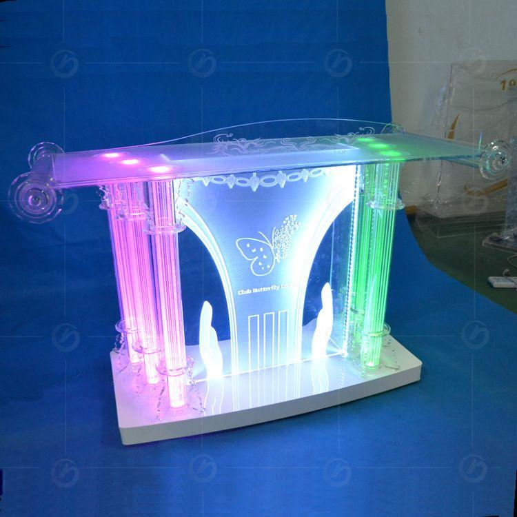 Clear Acrylic Bar Table,night Club DJ Facade,night Bar Booth. RGB LED