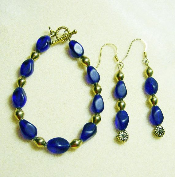 Royal Blue Bracelet Earrings Gorgeous Matte Gold