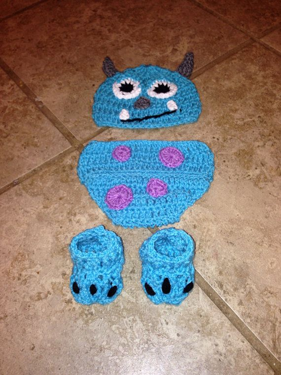 d5bece997a6 Crochet Monsters inc sully hat diaper cover by ZGirlsKreationz ...