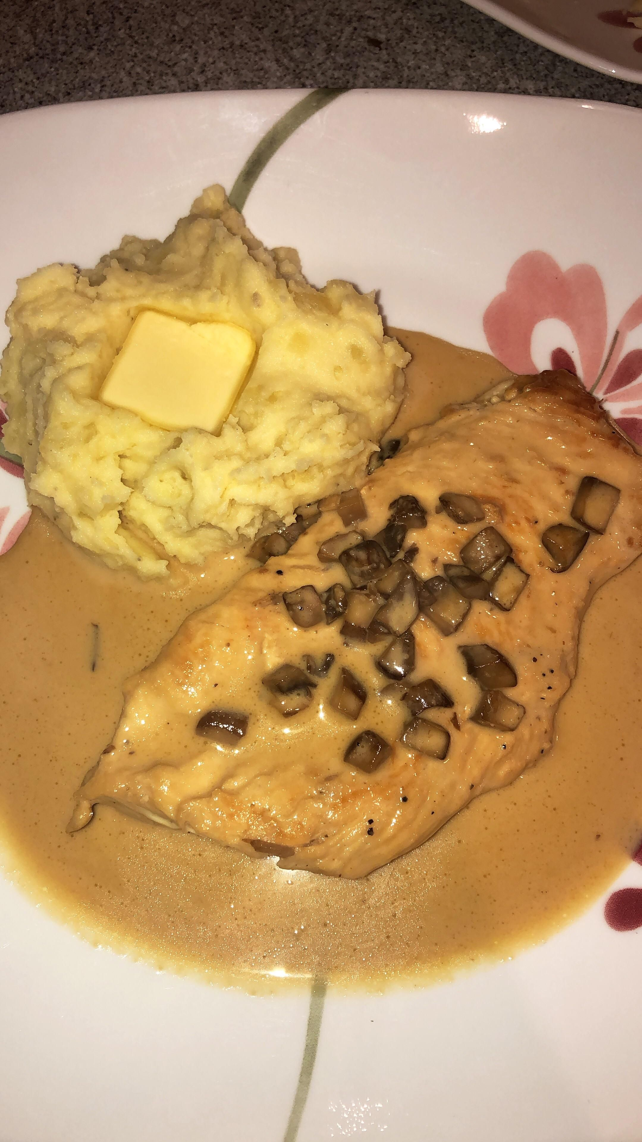 Homemade Creamy Chicken Marsala With Mashed Potatoes Food Food Network Recipes Creamy Chicken
