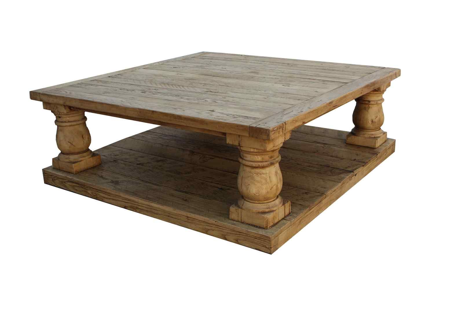 Postobello Large Turned Leg Coffee Table Built In Reclaimed Wood Tables Handcrafted From Timbers Recycled Old Buildi