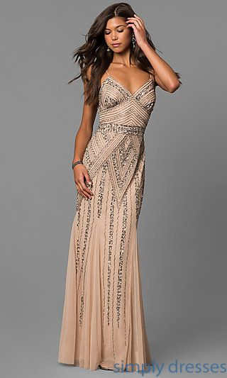 c556816ccecd V-Neck Beaded Long Formal Dress with Sequins | crafting | Vestidos, Ropa