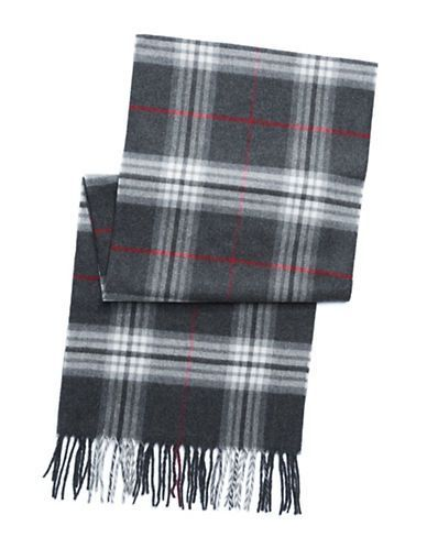 Black Brown 1826 Solid Scarf with Fringe Men's Grey