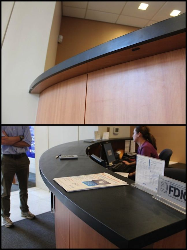 #BlueCanyon Countertop With Stacked Edge For PNC Bank In New Brunswick, NJ