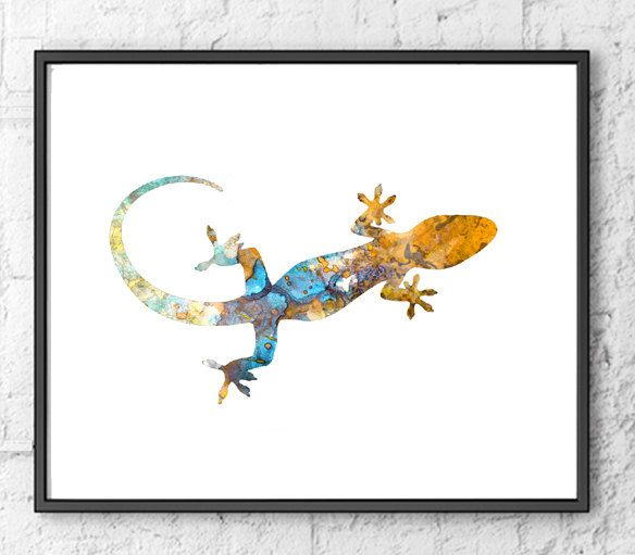 Colorful lizard art print gecko watercolor by Thenobleowl ...