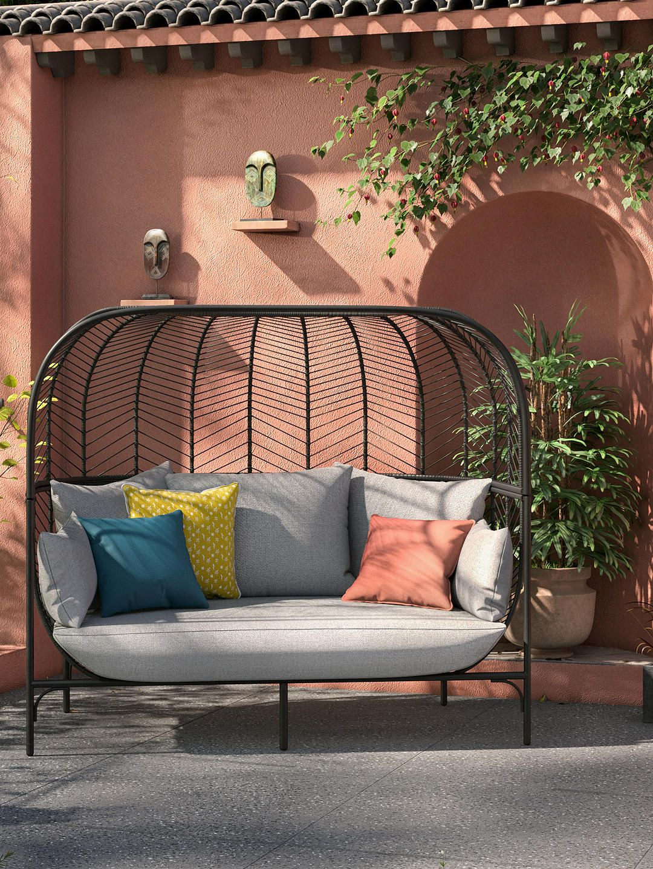 John Lewis Partners Chevron 2 Seat Double Garden Sofa Pod Black Grey In 2020 Garden Sofa Seating Pallet Garden Furniture