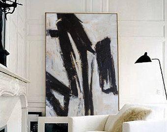 Extra Große Wand Kunst, Zeitgenössische Kunst, Schwarz Und Weiß Malerei,  Leinwand Kunst, Abstrakte Malerei, Große Leinwand Kunst, Gemälde Auf  Leinwand, Art