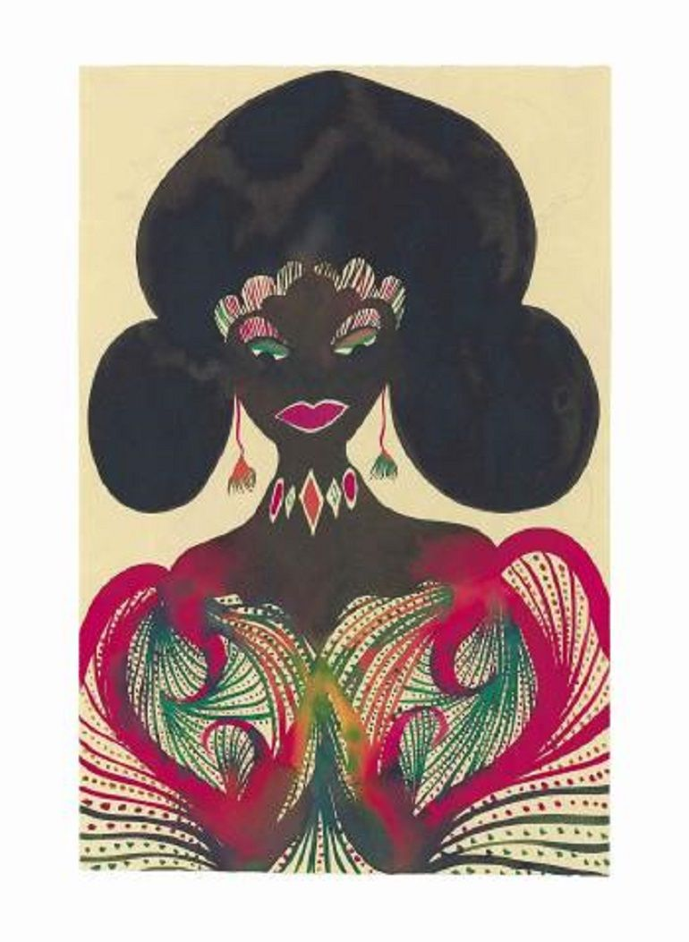 Chris Ofili Untitled Afromuse 2007 Charity Art Auction for Gasworks Redevelopment at Christie's Exceeds Expectations