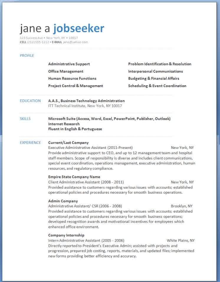 Administrative Resume Templates Word -   jobresumesample
