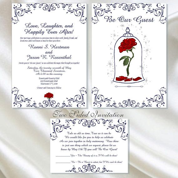 Printable Enchanted Rose Beauty And The Beast Wedding Invitation Be Our Guest Wedding Invitation Calligraphy Wedding Invite