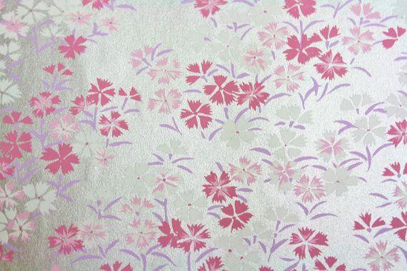"""Gorgeous Shining Pink Sakura Cherry Blossoms Washi Yuzen 9"""" x 12"""" Japanese Paper Sheet"""