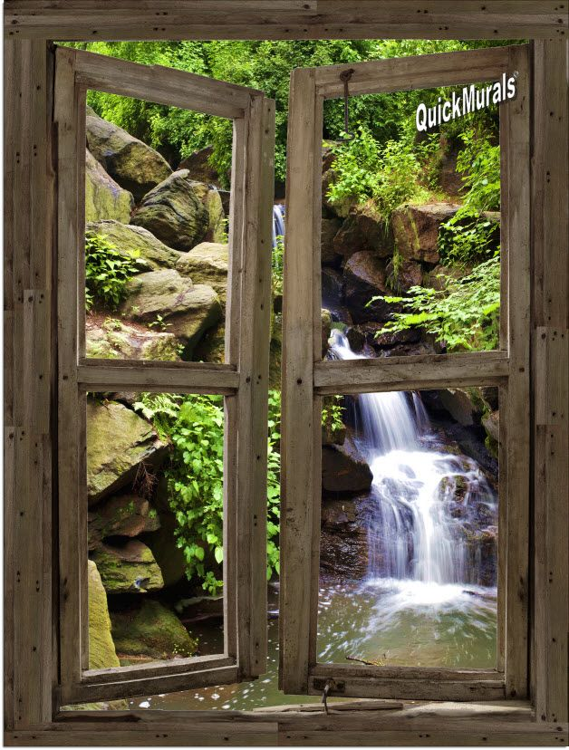 waterfall cabin window mural 3 one piece peel and stick on wall coverings id=40552