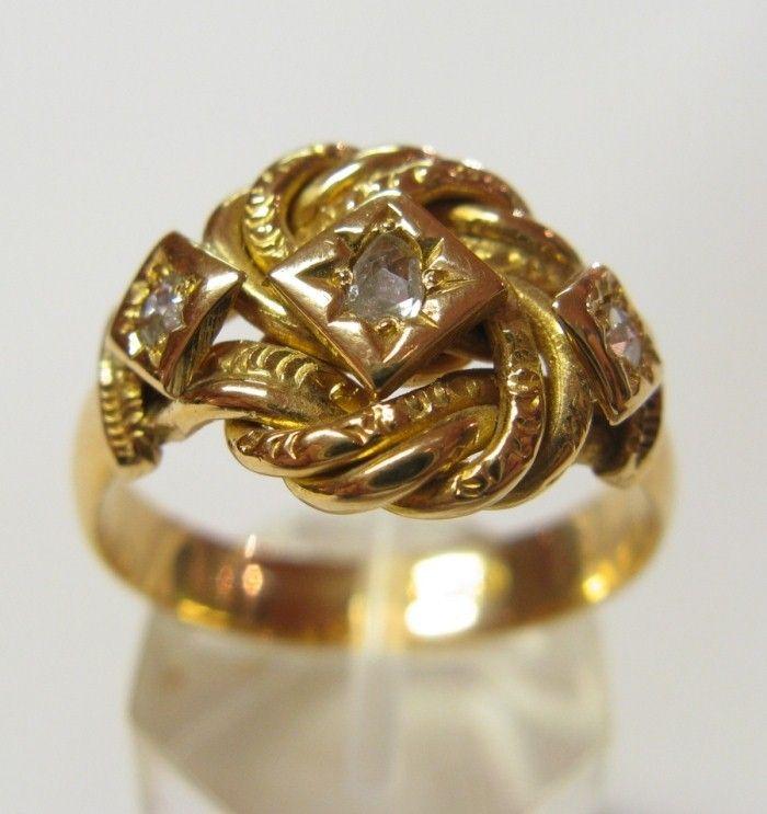 Antique Victorian 18ct Gold & Diamond True Love Knot Ring London