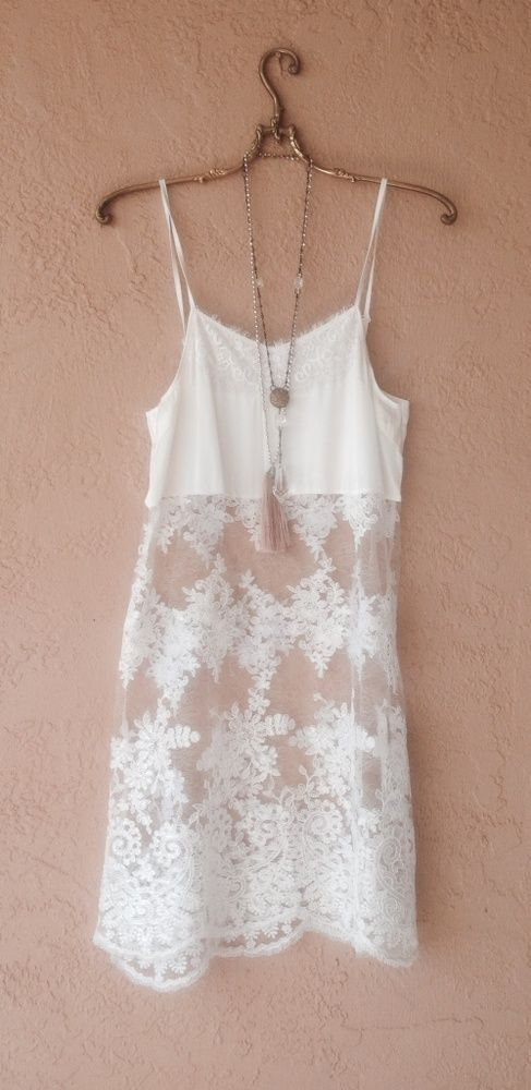 Image of Romantic Cotton Sheer lace embroidery slip with ribbon and lace accents