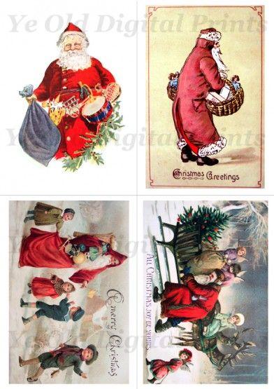 Vintage Santa Cards - free to download Christmas Printables