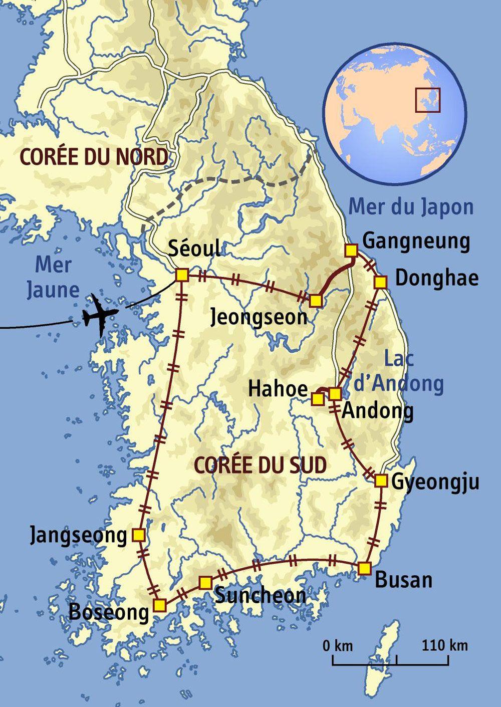 carte coree du sud